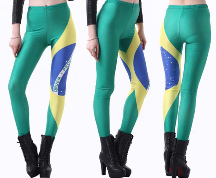 Seven Sea Sales Thin Star Spring 2015 Digital Printing Sexy Leggings Brazilian Flag Fitness Clothing For Women Free Shipping(China (Mainland))