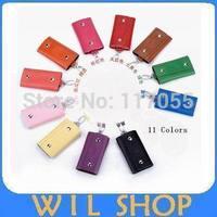 11 Color Portable Leather Key Bag Case Rings KeyChain Bag Key Wallets Holder Purse