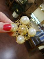 Geometry rhombus pearl baroque brooch