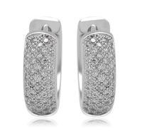 trendy jewelry women hoop earings white gold plated CZ round shape novelty earring gift  for women wholesale jewelry