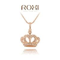 Christmas Gift women fashion rose gold plated Nexklace Crown Style Rhinestone crystal ROXI necklaces fashion jewelry