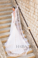 In Stock Cheap Long White Custom Made Lace Border Appliques 3M Wedding Veil