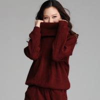 XL-4XL Brand 2014 Fall Winter Women Fashion Big Lapel Long sleeve Solid Loose Turtleneck Knitted Sweater Dresses Plus Size XXXL