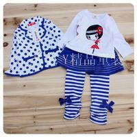 lovely girls blue polka dot clothing set cotton coat t shirt and skirt pants 3 pcs set spring autumn children girls clothes set