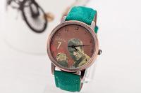 Brand watches vintage Beckham face dress watches copy Denim leather strap watches