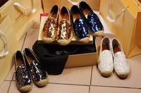 Free shipping lady flats 4 colors white/ grey/ gold/ blue shining paillette upper lady loafers size 35~40 pregnant shoes