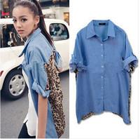Fashion Women Blouse Leopard Denim Linen Women Tops Shirts Patchwork  Design Turn-down Collar Hot Selling Women Tops Blouse E623