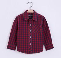 2015 classic British age season cotton plaid shirt long sleeve shirt boy London fashion grid style plaid shirt