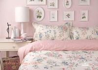 Korea Princess Pink Floral Pastorale Style Twill 100% Cotton 4pcs Set Beddings Home Textile -Duvet Cover Bed sheet Pillowcase