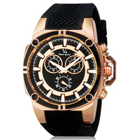 V6 Super Speed V0230 Men's Sports Watch Fashionable Analog Large Dial Wrist Watch with Silicone Band -5