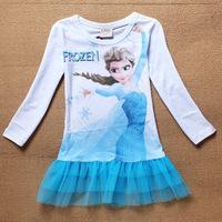 2014 Fashion Frozen Dress Kids Brand Frozen Elsa Baby Dress for Girls Frozen Dress vestido infantil Kids Long Sleeve Dress