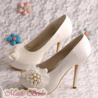 (14 Colors)Custom Handmade Elegant Ladies Court Bridal Shoes Platform Wedding Pumps Dropshipping
