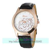 100pcs/Lot Camellia japonica Rose Gold Case Casual Watch Fashion Ladies Dress Casual Watch 2 colors