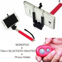 2014 New Arrival Hot Self Timer Monopod + Bluetooth Shutter + Phone Holder For Iphone,Samsung Free Shipping