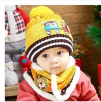 Princess winter child hat plush hat christmas cap baby hat scarf muffler set cap