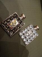 Rhinestone letter perfume bottle brooch