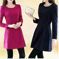 Women Fashion Wooled Dress Fall Winter Slim Plus Size Back With Zipper Long Sleeve Polka Dot Dress For Ladies 3XL 10308