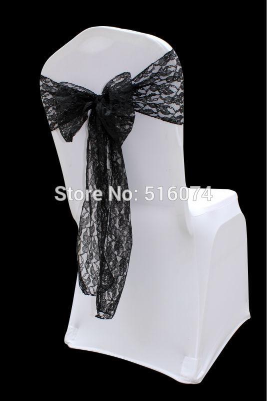 60pcs new design fashion black lace chair sash bow ,Wedding christmas party Decoration/customizable service /free shipping(China (Mainland))