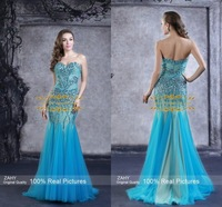 Sparkling Crystal Blue Evening Dresses Sweetheart Backless Beaded Mermaid Prom Pageant Party Dresses YF56