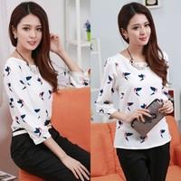 2014 New women's fashion shirts Printed chiffon shirt sleeve Hitz Korean lady blouses blusas  thin Slim