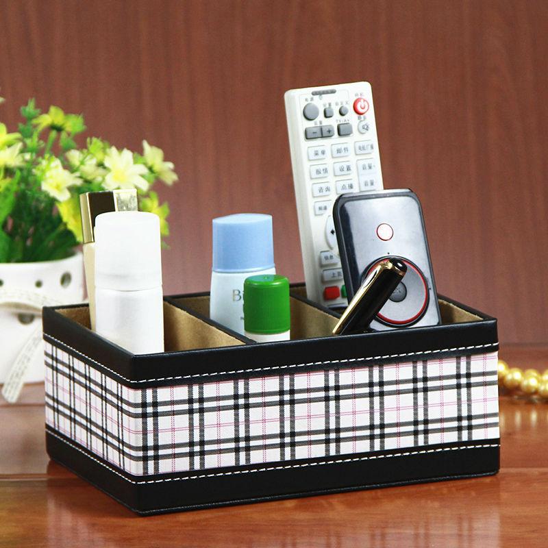 APS plaid leather storage 4-slot wood leather table storage box mobile phone cosmetics box case holder organizer(China (Mainland))