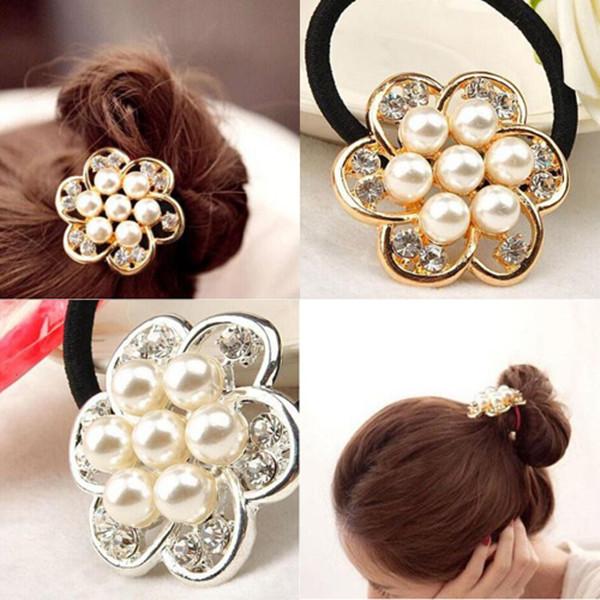 Sweet Women Fashion Hair Accessories Pearl Flower Hair Band Headwear Gold Silver(China (Mainland))