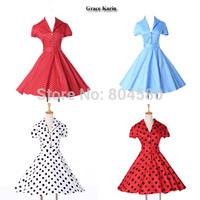 2015 New Fashion Short Sleeve 50s 60s Swing plus size Rockability Retro dresses Women Vintage Polka Dots Prom Gown dress CL6089