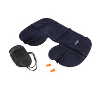 1SET High Quality Car Air Travel Soft Neck Air /U Cushion Pillow + eye mask + 2 Ear Plug Health Care