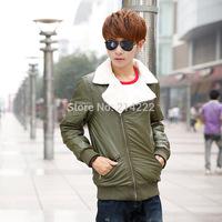 New 2014 cashmere cardigan solid color leather cotton men's casual men jacket coat winter warm cozy men's coat