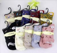 20 pairs/lot 100% Cotton Korean Floral Retro Lace Women's Winter Socks Deodorant Antibacterial Female Socks