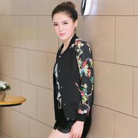 Women Autumn Thin Coat Short Design Floral fashion Outwear Jacket M L XL