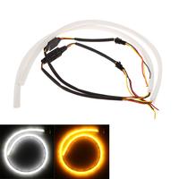 Universal LED Car Led Light Lamp Bulb Daytime Running Light Strip Tube Bar Style Driving White Yellow 12V 2*60cm About 900LM