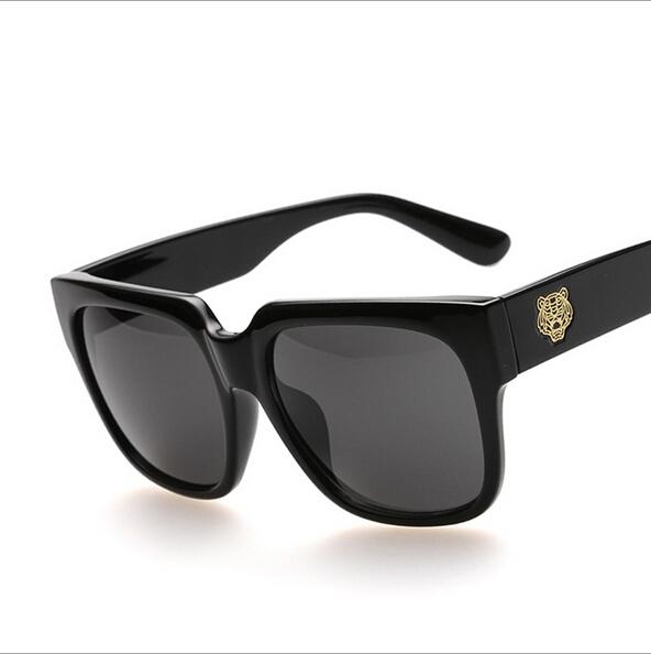 2015 new Korean brand Lee MinHo Sunglasses men tiger head big frame sun lenses shades unisex square sun spectacles Black UV400(China (Mainland))