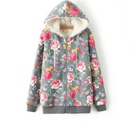 Women Casual Fashion Autumn Winter New High Quality Floral Print Hooded Sweatshirts Fleece Warmer Coat(TK177)