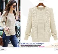 The new 2014 Europe slashed Hemp flowers sweater Womens coats sweaters