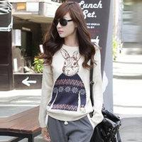 Hitz Korean female loose knit Institute wind cartoon rabbit Crewneck Pullover Jacket