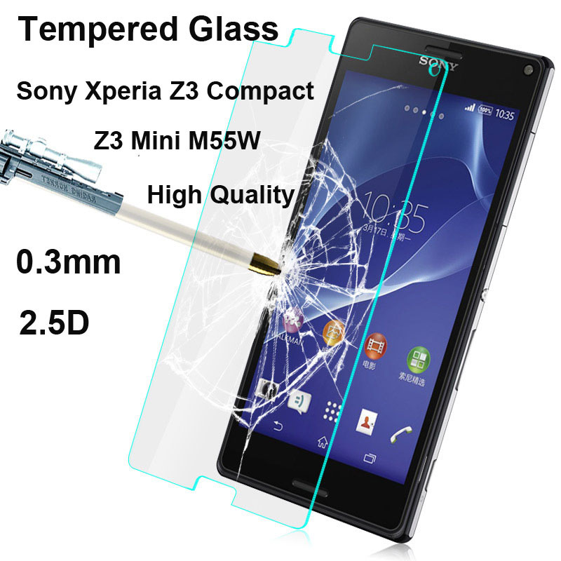 0.3mm 2.5D Ultra-thin 9H High Quality Scratch Resist Tempered Glass Screen Protector for Sony Xperia Z3 Compact Z3 Mini M55W