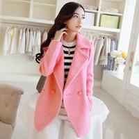 2014 winter outerwear women's medium-long slim double breasted woolen outerwear wool coat female