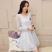 Autumn 2014 women's slim medium-long princess dress lace skirt lace long-sleeve a1ndq
