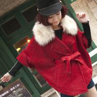 2014 autumn and winter women rabbit fur cloak medium-long wool coat woolen outerwear female