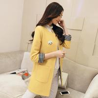 2014 women's autumn and winter outerwear slim color medium-long block woolen overcoat woolen outerwear female