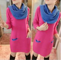 Autumn maternity clothing top autumn one-piece dress long-sleeve medium-long sweater outerwear autumn and winter