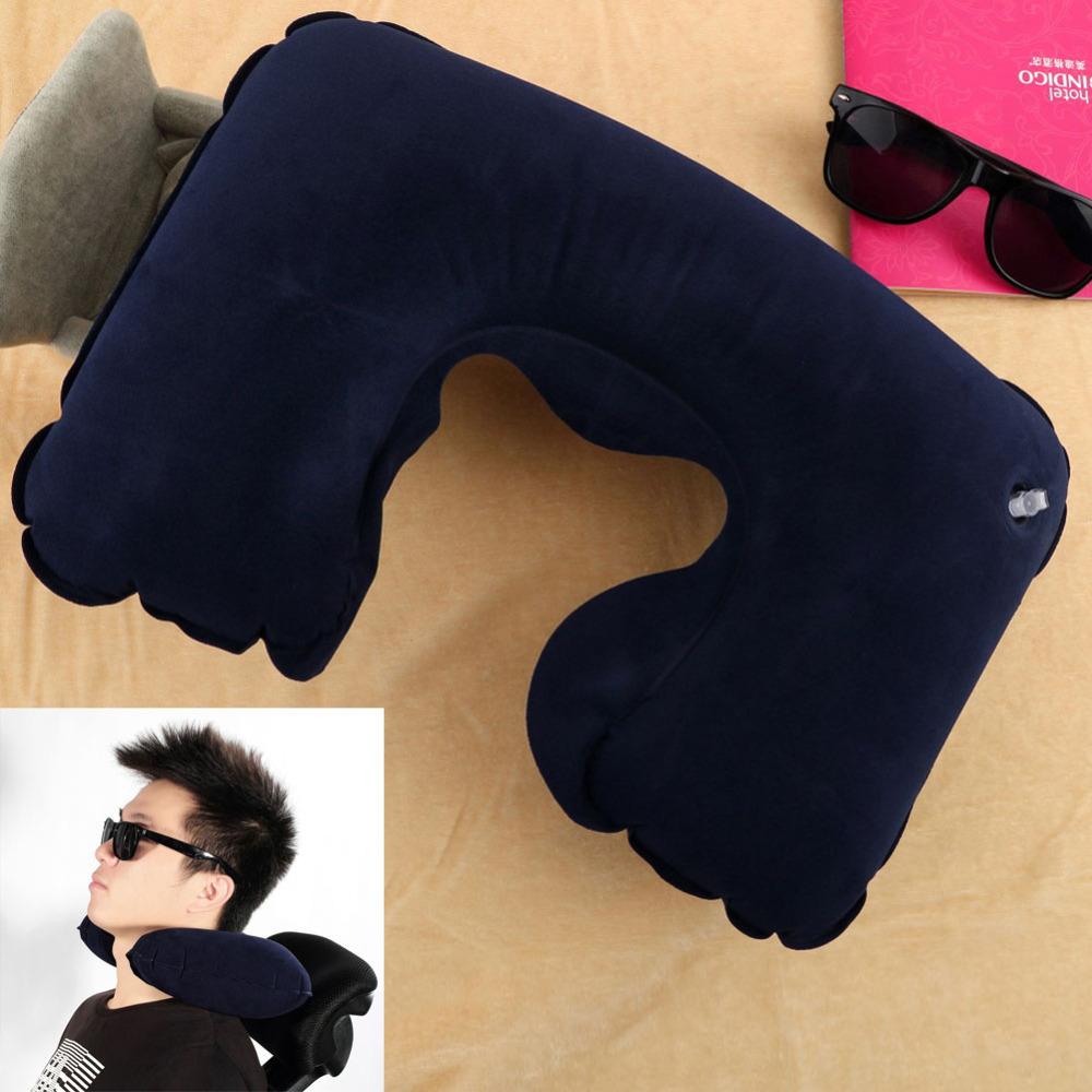 Portable Inflatable U-Shape Flocked Pillow Neck Rest Car Travel Comfort Headrest Car Flight Travel Soft Nursing Cushion(China (Mainland))