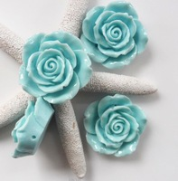 50PCS/Lot Latest Chunky beads style large Size 42mm resin flower cabochon beads Blue Flower Bead with back hole wholesale price!