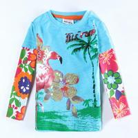 Free Shipping Nova Girls Clothes F5511 Children Girl T-shirt Shirts Floral Printed Kids Autumn T shirt Clothing for Kids Wear