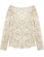 2014 Fashion Women Clothing Tops Brand Style Crochet New Cute White Long Sleeve Hollow Out Embroidery Lace Elegant Sheer Blouse
