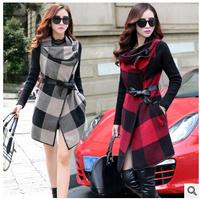 New Brand 2014 Women Coat Winter Woolen Long Sleeve Slim Overcoat Fashion Cloak Trench Desigual Woolen Coat Casacos Femininos