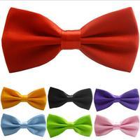 2015 New Satin Mens Pre Tied Wedding Party Fancy Plain Necktie tie Bow Ties men women Polyester solid color bow ties