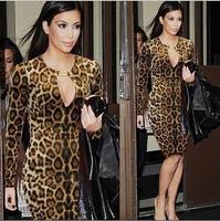 2014 new Women dresses Fashion Leopard Sexy dresses Package hip Slim Long-sleeved dress Women's dresses