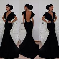 2014 Bat Sleeve Women sexy Dress Evening Party Elegant Bodycon bandage Dress Backless Black Floor Length Deep V Homecoming Dress